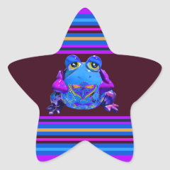 Funky Colorful Frog Blue Purple Funny Gifts Sticker