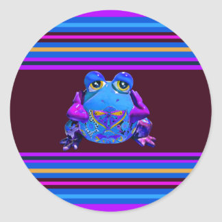 Funky Colorful Frog Blue Purple Funny Gifts Round Stickers