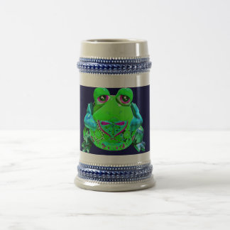 Funky Colorful Frog RELAX Teal Lime Navy Beer Stein