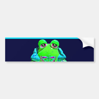 Funky Colorful Frog RELAX Teal Lime Navy Bumper Sticker