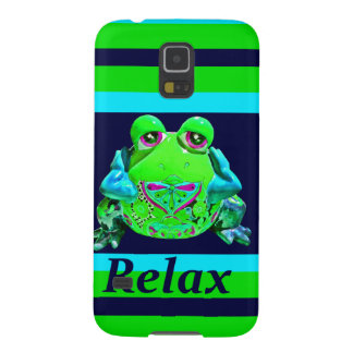 Funky Colorful Frog RELAX Teal Lime Navy Galaxy S5 Cases