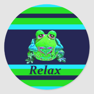 Funky Colorful Frog RELAX Teal Lime Navy Classic Round Sticker