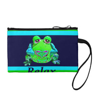 Funky Colorful Frog RELAX Teal Lime Navy Coin Purse
