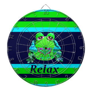 Funky Colorful Frog RELAX Teal Lime Navy Dart Board