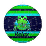 Funky Colorful Frog RELAX Teal Lime Navy Dartboards