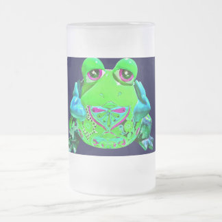 Funky Colorful Frog RELAX Teal Lime Navy Frosted Glass Beer Mug