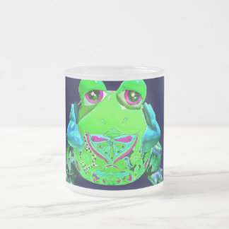Funky Colorful Frog RELAX Teal Lime Navy Frosted Glass Coffee Mug