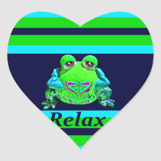 Funky Colorful Frog RELAX Teal Lime Navy Heart Sticker