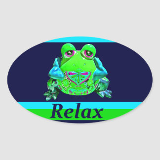 Funky Colorful Frog RELAX Teal Lime Navy Oval Sticker