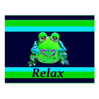 Funky Colorful Frog RELAX Teal Lime Navy Postcard