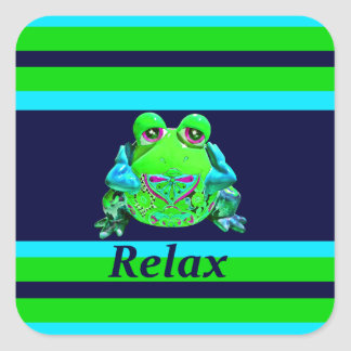 Funky Colorful Frog RELAX Teal Lime Navy Square Sticker