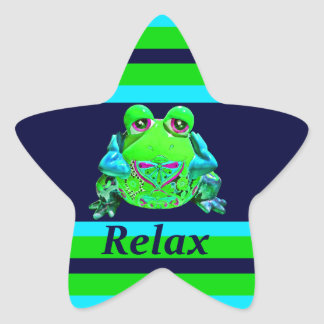 Funky Colorful Frog RELAX Teal Lime Navy Star Sticker
