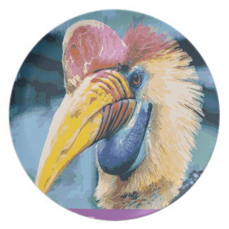 Funky Colorful Hornbill Tropical Bird Art Plate