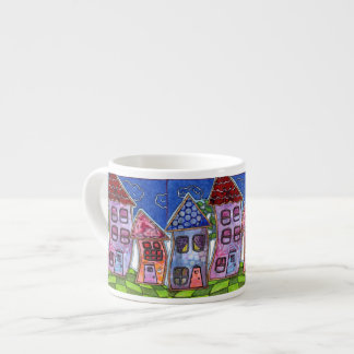 Funky Colorful Houses 6 Oz Ceramic Espresso Cup