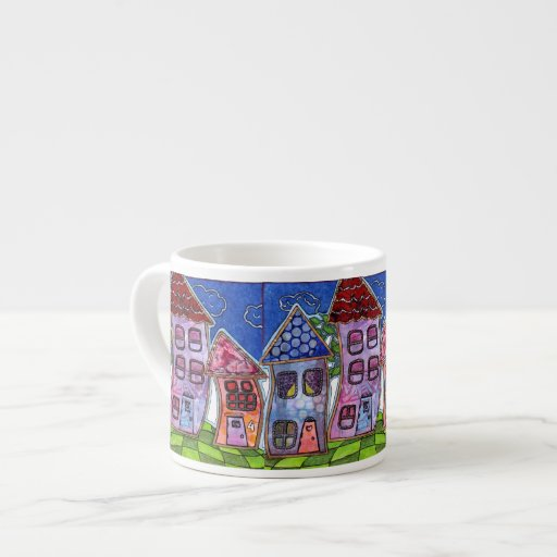 Funky colorful houses espresso cup zazzle - Funky espresso cups ...