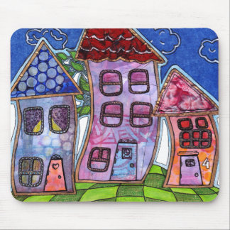 Funky Colorful Houses Mouse Pad