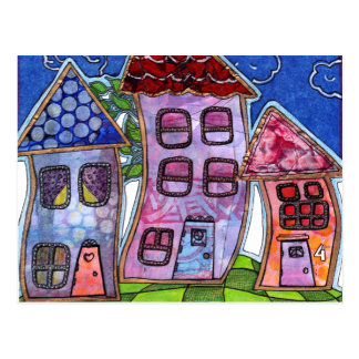 Funky Colorful Houses Postcard