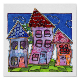 Funky Colorful Houses Poster