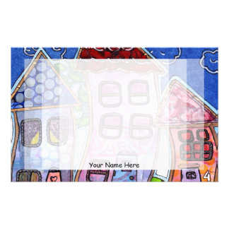 Funky Colorful Houses Stationery