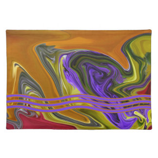 Funky Colorful Liquid Wave Cloth Placemat