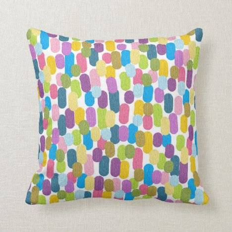 Funky colorful painted dashes throw pillow