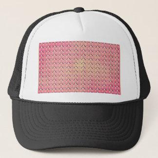 Funky Colorful Pink  Beige Geometric Pattern Trucker Hat