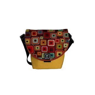 Funky Colorful Retro Squares Messenger Bag