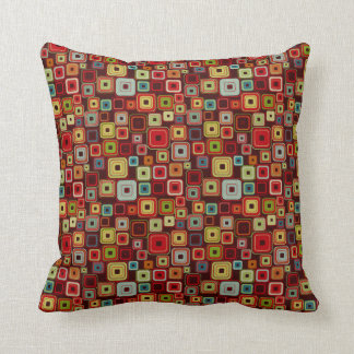 Funky Colorful Retro Squares Pillow