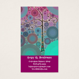 Funky Colorful Scroll Tree Circles Bubbles Pop Art Business Card