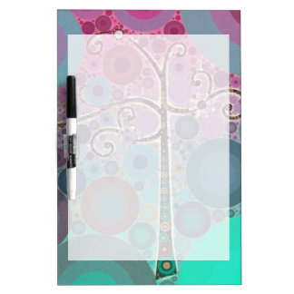 Funky Colorful Scroll Tree Circles Bubbles Pop Art Dry Erase Board