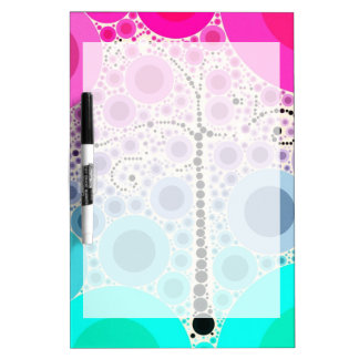Funky Colorful Scroll Tree Circles Bubbles Pop Art Dry-Erase Board