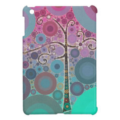 Funky Colorful Scroll Tree Circles Bubbles Pop Art iPad Mini Case