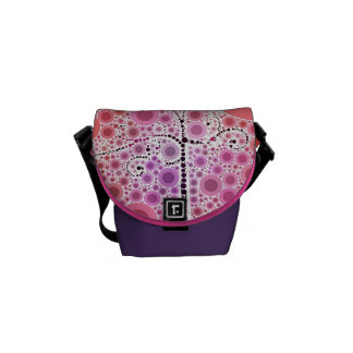 Funky Colorful Scroll Tree Circles Bubbles Pop Art Courier Bag