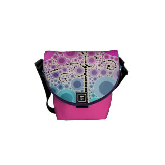 Funky Colorful Scroll Tree Circles Bubbles Pop Art Messenger Bags