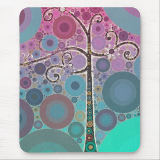 Funky Colorful Scroll Tree Circles Bubbles Pop Art Mouse Pad