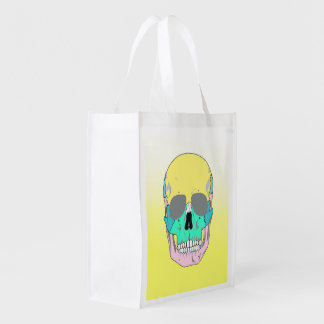 FUNKY COLORFUL SKULL REUSABLE GROCERY BAG