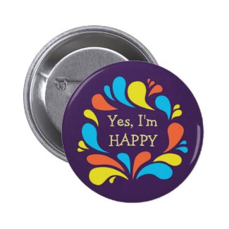 Funky Colorful Swirls Custom Text Happy Button