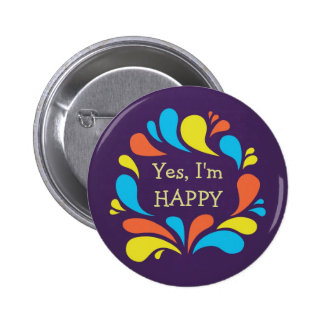 Funky Colorful Swirls Custom Text Happy Pinback Button