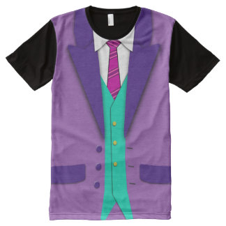 Funky Colors Suit Tie and Vest All-Over Print Shirt