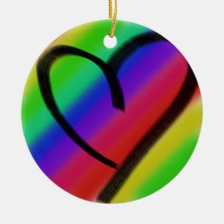 funky coloured love heart ceramic ornament