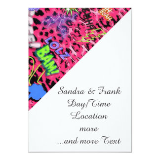 funky comic allover,pink 5x7 paper invitation card