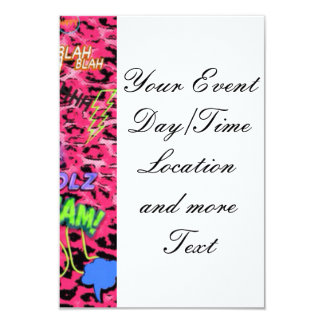 funky comic allover,pink 3.5x5 paper invitation card