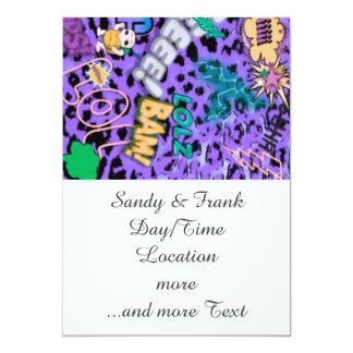 funky comic allover,purple 5x7 paper invitation card
