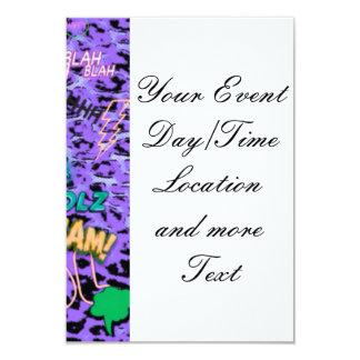 funky comic allover,purple 3.5x5 paper invitation card
