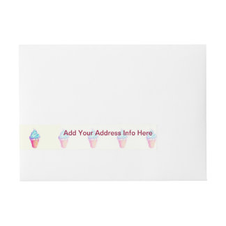 Funky Cool Drippy Ice Cream Cone in Watercolors Wrap Around Address Label