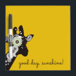 "Funky Cool Giraffe Animal Quote Funny Yellow Dry Erase Board<br><div class=""desc"">The product design features a silhouette of a giraffe filled with kaleidoscopic paisley patterns. This wild animal original illustration makes a whimsical and stylish unique dry erase board with personalized message and background color - good day,  sunshine!</div>"