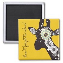 Funky Cool Giraffe Animal Quote Funny Yellow Magnet