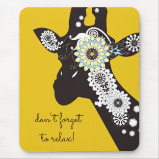 Funky Cool Giraffe Animal Quote Funny Yellow Mouse Pad