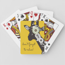Funky Cool Giraffe Animal Quote Funny Yellow Playing Cards