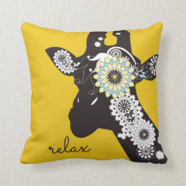 Funky Cool Giraffe Animal Quote Funny Yellow Throw Pillow